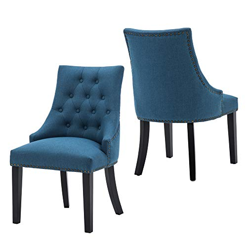 LSSBOUGHT Set of 2 Fabric Dining Chairs Leisure Padded Chairs with Black Solid Wooden Legs,Nailed Trim,Blue