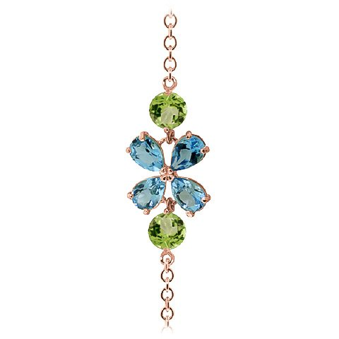 QP bijoutier naturel-Topaze bleue-Péridot & Bracelet en or Rose 9 carats, coupe - 5064R 3.15ct poire