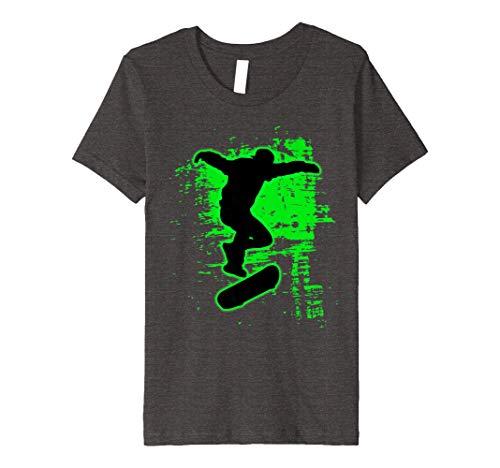 Kids Green Splatter Awesome Skateboarding Shirt Skater Tee 12 Dark Heather