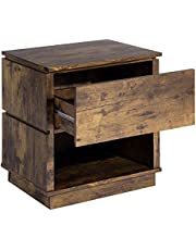 Vintage Style Wood Nightstand Shutter End Table 2 Tiers with 1 Drawer