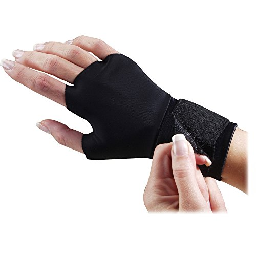 Dome Handeze Flex-fit Therapeutic Gloves - Small Size - Wrist Strap - Fabric - 2 / Pair - Black