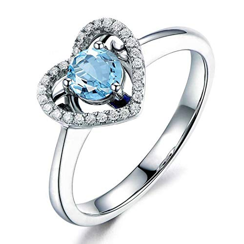 Adisaer-Womens Cubic Zirconia Wedding Ring 925 Sterling Silver Plated LW 5X5Mm Round Blue Topaz Ring Size -