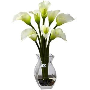 Nearly Natural 1296-CR Classic Calla Lily Arrangement, Cream 61