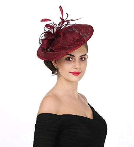 SAFERIN Fascinators Hat Sinamay Flower Mesh Feathers on a Headband and a Clip Kentucky Derby Wedding Tea Party Headwear for Girls and Women (TA9-Burgundy)