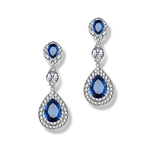 Goober Liu Solid Triangle Modeling Fashion Crystal Earrings,Zircon-gemstone Eardrop, 1 Pair (blue) (Solid Zircon Ring)