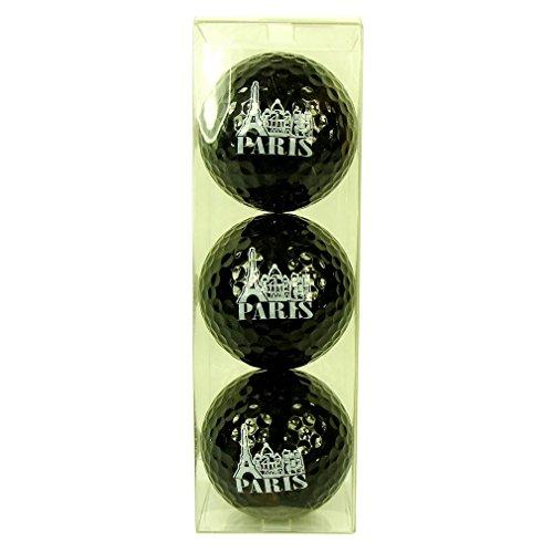 (Souvenirs of France - 3 x Paris Eiffel Tower Golf Balls - Black)