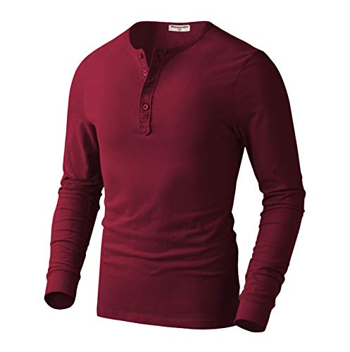 Derminpro Men's Premium Cotton Henley Long Sleeve T-Shirts Red X-Large