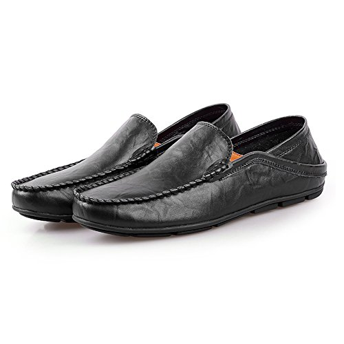 Shenn Herren Mode Schlüpfen Mokassins Beiläufig Leder Halbschuhe Schuhe 20138 Schwarz