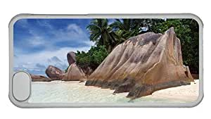 Hipster funny iPhone 5C cases beach sand rock palms tropical PC Transparent for Apple iPhone 5C