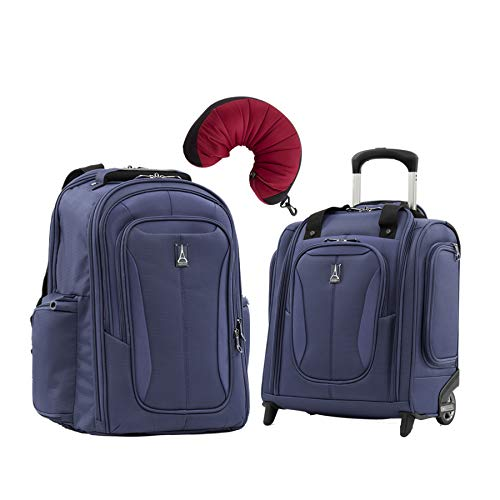 (Travelpro Tourlite 2-Piece Set: Laptop Backpack & Underseat Bag with Travel Pillow (Blue))