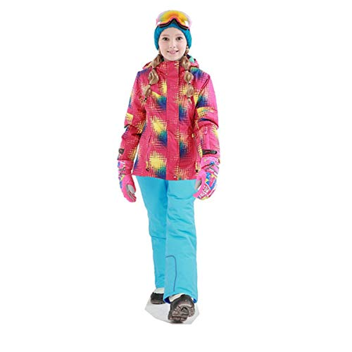 Korean Fashion Kids Ski Suit Waterproof Pants+Jacket Set Winter Sports Thickened Clothes Children's Ski Suits ()