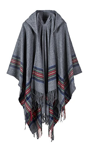 - Hiwil Women Cashmere Hooded Cardigans Stripe Ponchos Cold Weather Scarves with Tassels Grey One Size