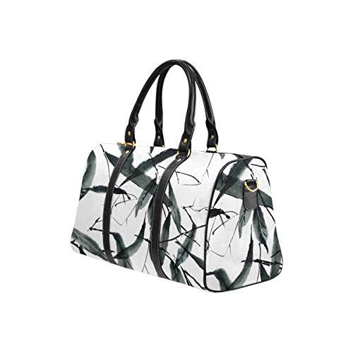 InterestPrint Travel Duffel Bag Waterproof Overnight Bag Weekend Carryon Handbag Traditional Oriental Chinese Bamboo Leaves Ink Painting