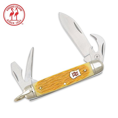 Kissing Crane Yellow Bone Boyscout Folding Knife