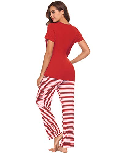 Hotouch Pajamas for Women Soft Cotton Jersey Womens Pajamas Lightweight Loungewear Set Red S