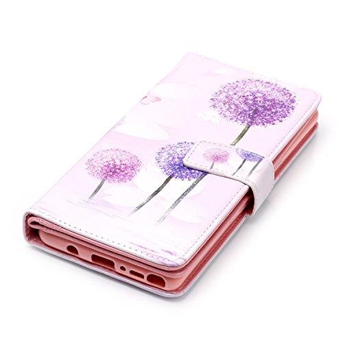 inShang Funda para Samsung Galaxy Note 8 con diseño integrado de la cartera, Note8 Funda con función de soporte. + clase alta 2 in 1 inShang marca negocio Stylus pluma Purple Dandelion