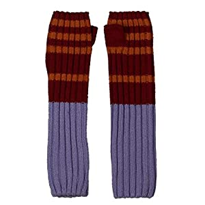 Free People Womens Striped Winter Arm Warmers Red O/S