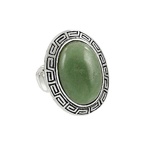 Falari Natural Gemstone One Size Stretch Ring Green