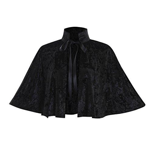 COUCOU Age Velvet Collar Shawl Short Cloak Cape Women Dress Accessories,Black,One -