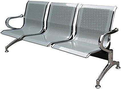 Sedia Panca dattesa in metallo per ufficio 3 posti