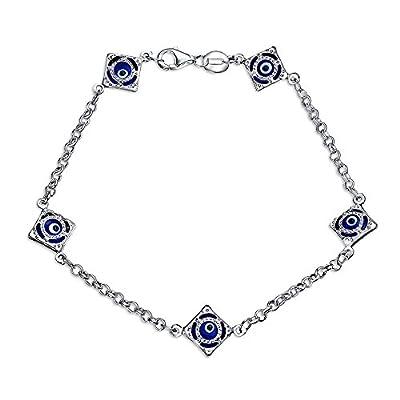Bling Jewelry Sterling Silver Round Blue Evil Eye Bracelet supplies