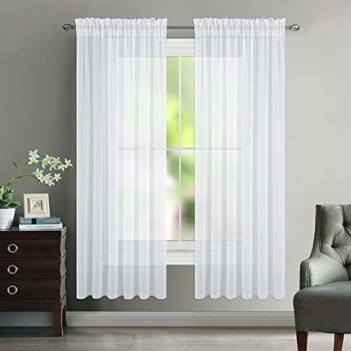 (NICETOWN Sheer Curtain Panels for Dining Room, Semi Voile Drapes Faux Linen Sheer Curtains for Patio Glass Door, 55