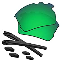 Predrox Green Mirror Flak 2.0 XL Vented Lenses & Rubber Kits Replacement for Oakley OO9188 Polarized