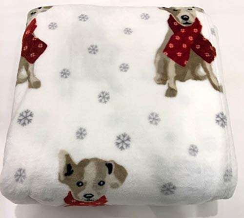 Soft Plush Adorable (Ellen Degeneres Christmas Full/Queen Ultra Soft Plush Bed Blanket Featuring Adorable Dogs Wearing Scarves   Snow White Background with Silver Gray Snowflakes)