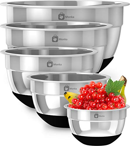Premium Stainless Steel Mixing Bowls With Non Slip Bottom (Set of 5). Sizes- 8, 5, 3, 1.7, 0.75 QT. For Healthy Meal, Nesting and Stackable .Monka