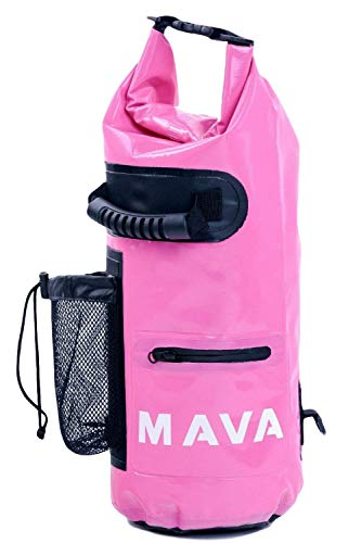Mava Sports Waterproof Dry Bag - Mobile and Water Bottle Pocket, Long Adjustable Shoulder Strap - Roll Top Sack for Adventures, Boating, Canoeing, Rafting, Camping, Snowboarding, Water (Pink, 15l)