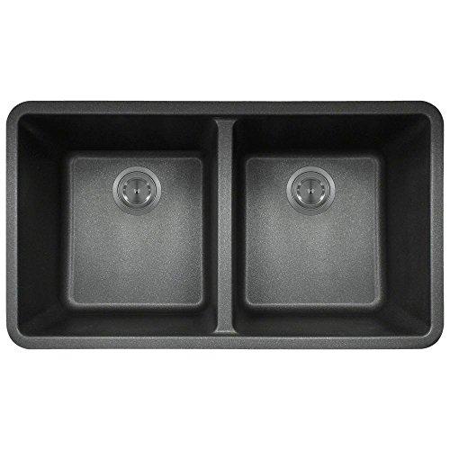 802 Black Undermount Double Equal Bowl Quartz Kitchen (Black Rectangular Bowl)