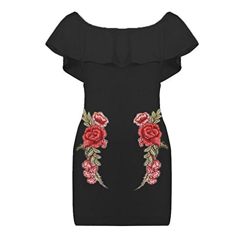 Descubierto Con Lápiz Mujer Bodycon Mujer Hombro Flores Vestido Mini Negro Para De Volantes PnXX4zq