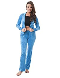 Velour Classic Hoodie Sweat Suit Jacket and Pants Set Velvet Tracksuit with Pockets