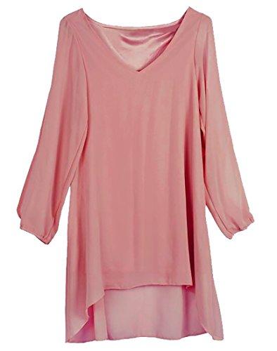 Jaycargogo Des Femmes De Mousseline De Soie Épaule Froid Cou V Casual Rose Mini Robe Lâche
