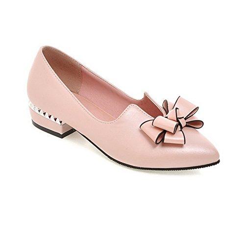 BalaMasa Girls Electroplate Heel Spun Gold Bowknot Low-Cut Uppers Soft Material Pumps-Shoes Pink UloEExN