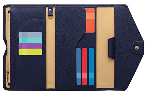Zoppen Mulit-purpose Rfid Blocking Travel Passport Wallet (Ver.4) Tri-fold Document Organizer Holder, Navy Blue