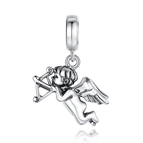 Glamulet Art - Cupid Dangle Charm -- 925 Sterling Silver -- Fits Pandora Bracelet (Cupid Bow And Feathers)