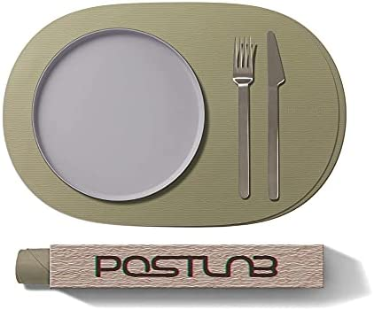 """POSTLAB Silicone Placemats [16.5"""" x 11.0""""] Set of 2 Exquisitely Designed mats for Dining, Tabletop, Kitchen Tables. Non-Slip, Waterproof, Stain & Heat Resistant (Artemisia Brown)"""
