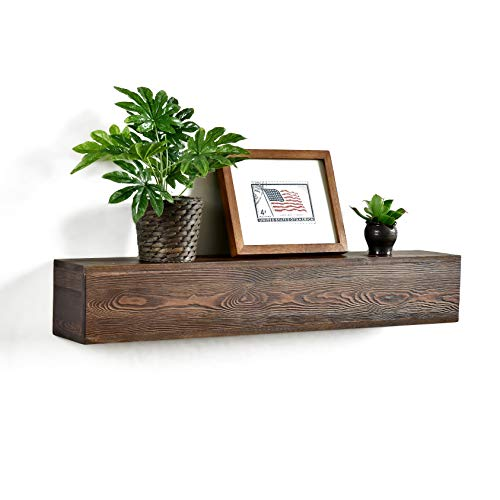 WELLAND 6 High Dylan Rustic Floating Shelf Reclaimed Wood Wall Shelf Fireplace Mantel Shelf Wall Mounted,Walnut Color (36x6Dx6 H)