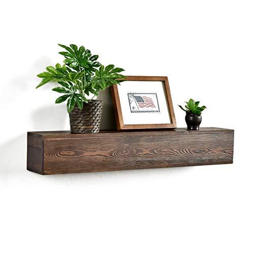 "WELLAND 6"" High Dylan Rustic Floating Shelf Reclaimed Wood Wall Shelf Fireplace Mantel Shelf Wall Mounted,Walnut Color (36""x6""Dx6 H)"