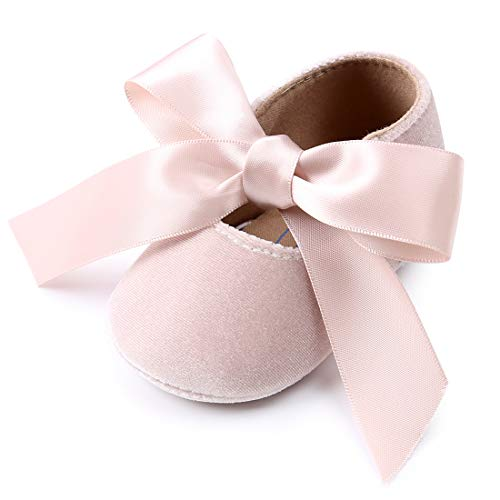 Tutoo Infant Baby Girls Mary Jane Shoes Soft Sole Ballet Slippers with Bow Princess Dress Wedding Shoes Newborn Crib Shoes First Walkers Shoes