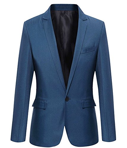 Mens Slim Fit Casual One Button Blazer Jacket (M, 303 Blue)