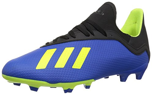 Adidas Indoor Soccer Cleats - adidas Unisex X 18.3 Firm Ground Soccer Shoe, Football Blue/Solar Yellow/Black, 6 M US Big Kid