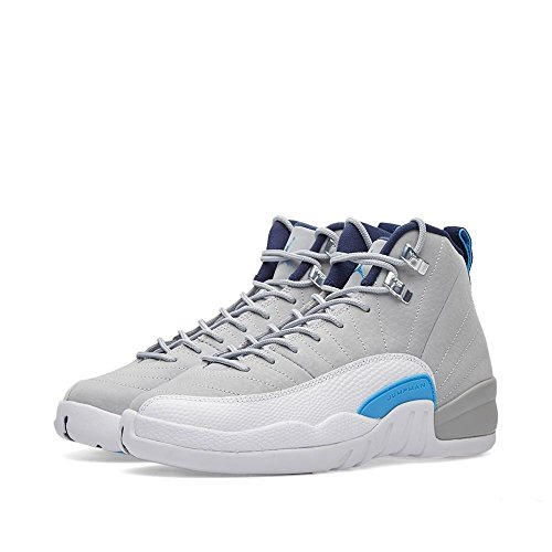 JORDAN Boy's 12 Retro Big Kids Style, Wolf Grey/University Blue/Mid Navy, 5.5 by Jordan