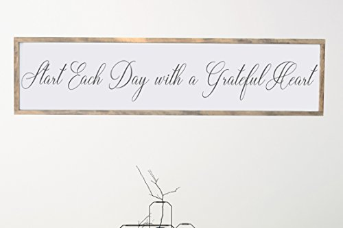 Start Each Day With a Grateful Heart Framed Wood Home Décor Sign