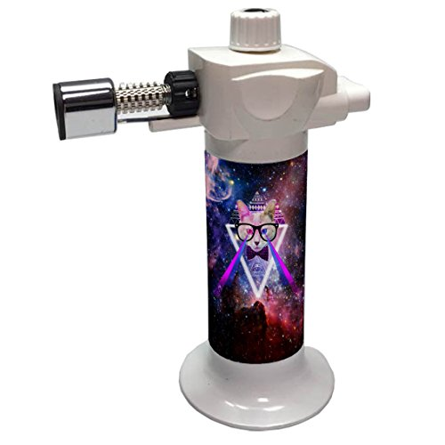 Hipster Galaxy Cat Professional Refillable Kitchen Culinary Creme Brulee Torch for Flame Cooking Baking (Without Butane) by sparkles