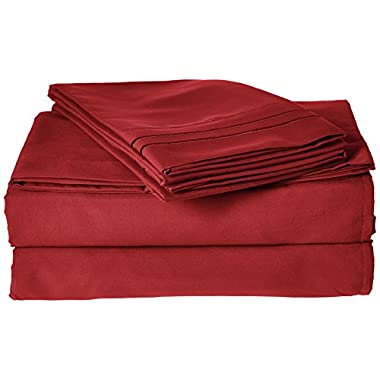 Clara Clark ® Supreme 1500 Collection 4pc Bed Sheet Set - Cal King Size, Burgundy Red