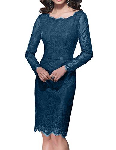 Blau mia Kleider Brau Langarm Dunkel Standsamt Brautmutterkleider Partykleider La Knielang Etuikleider Spitze Abendkleider USawnn7x