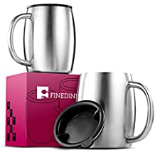 FineDine Premium Grade Stainless Steel Coffee Mugs with Lids (Set of 2) Double Walled Insulated - Beer - Travel Mugs, Keeps Hot & Cold Longer, BPA Free Spill Resistant Lid. Comfortable Handle, 14 Oz