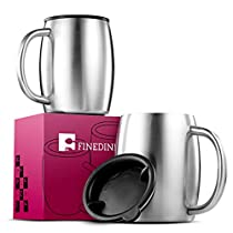 FineDine Double Wall 18/8 Stainless Steel Coffee Mugs with Spill Resistant Lids (Set of 2) Insulated Coffee Travel Mug with Comfortable Handle for Hot & Cold Drinks, Shatterproof Coffee Cups, 14 Oz.